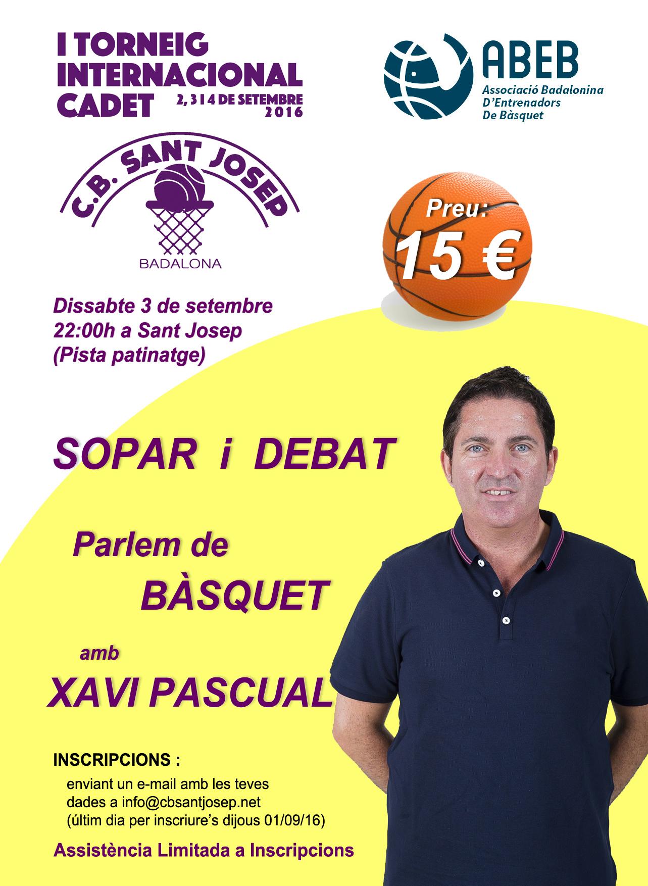 Parlem de Bàsquet – sopar i debat amb Xavi Pascual